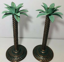 Set of 2 Tropical Metal Palm Tree Candle Stick Holders