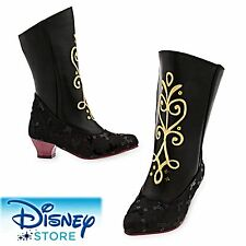 Authentic Disney Girls Anna Costume Black Ice BOOTS Dress up 7/8 Frozen