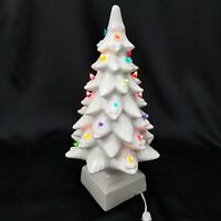 "VINTAGE 17.5"" Lighted Ceramic White Christmas Tree W/ Base RAYMOND LAMP CO AS IS"