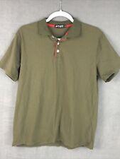 Fusion Mens Medium Polo Short Sleeve Army Green 100% Cotton Shirt