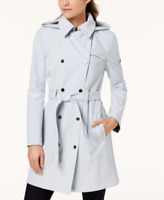 Calvin Klein Womens Hooded Double-Breasted WaterResistant Trench Coat Large Blue