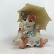 Calico Kittens April Showers Cat Unbrella with Bunny Rabbit Enesco 155500