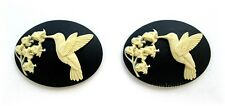 Valley on Black 40mm x 30mm Craft Cameos 2 Ivory color Hummingbird & Lily of the