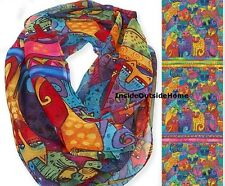 Laurel Burch Cat Feline Tribe Infinity Neck Scarf Multi-Color NEW