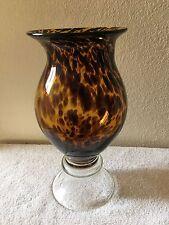 "Large Lepard Print Glass  14"" vase"