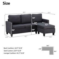 New Style Convertible Sectional Sofa Couch Fabric L-Shaped Home w/ Cushion