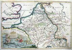 BELGIUM HOLLAND GALLIA BELGICA BY CELLARIUS  c1703 GENUINE ANTIQUE ENGRAVED MAP