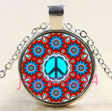 Mandala peace symbol Cabochon Tibetan silver Glass Chain Pendant Necklace #4498