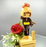Vintage Japanese KOKESHI Doll Black Red Kimono Japan Artist Signed FREE GIFT BOX