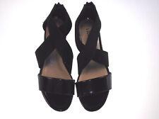 Rialto Criss cross Strap Sandals Back Zipper Jena 6 medium black patent