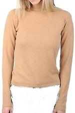 Balldiri 100% Cashmere Kaschmir Damen Pullover Rollkragen ohne Bündchen camel XS