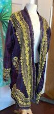 Vintage Purple Embroidered Gold Kaftan Caftan Robe Ethnic