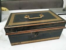 More details for antique large metal original pain with brass handle cash box