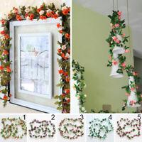 Künstliche Rose Girlande Hochzeit Hause Balkon Haengend Blumen Kunstpflanze 2.5M