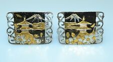 VINTAGE STERLING SILVER JAPANESE ETCHED NIELLO CUFFLINKS W/ FANCY OPENWORK EDGES