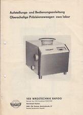 OSCHATZ Prospekt Bedienungsanleitung 1973 VEB Wägetechnik Rapido NAGEMA owa labo