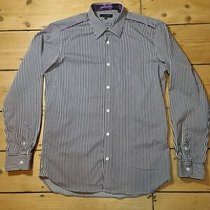 Ted Baker Mens Shirt Purple White Red Striped Size 2 Small Collar 15 Chest 36
