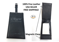 (2 PACK) NEW HIGH END BLACK & SILVER MAGNETIC LEATHER BUSINESS CARD LUGGAGE TAG