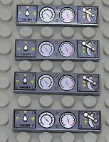 LEGO - 4 x Fliese 1x4 dunkelgrau bedruckt mit Instrumenten / 2431px17 NEUWARE
