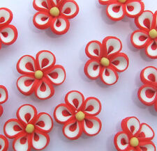 8 x Red, White and Yellow Coloured Flower Shaped Fimo Beads -  20mm
