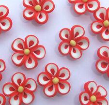 8 X Rojo, Blanco Y Color Amarillo Flor En Forma De Fimo Beads - 20 Mm