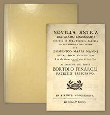 1744 Il grasso legnaiuolo Novella antica del grasso legnaiuolo Manni