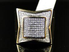 Mens Yellow Gold Finish Genuine Diamond Pave Pinky Fashion Band Ring .60 Ct