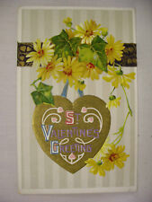 VINTAGE EMBOSSED VALENTINES POSTCARD HEARTS AND FLOWERS WALLPAPER BACKGGROUND