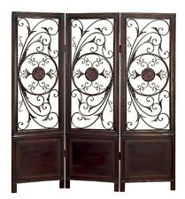 Elegant And Beautiful Metal Wood Divider Privacy Screen Brown Home Decor