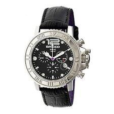 NEW Breed BRD4702 Mens Von Glarus Black Leather Round Chrono Fashion Watch royal
