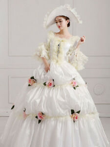 Women's Vintage ROCOCO Costume Victorian Floral Ball Gown White Pageant Dress