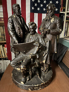 "1868 John Rogers Statue Group ""Council Of War"" Abraham Lincoln, Grant, Civil War"