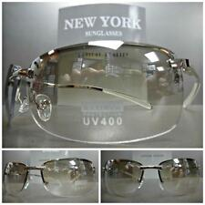 Mens Women CONTEMPORARY MODERN Style FASHION SUN GLASSES Clear Lens Chrome Frame