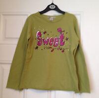 ZARA girls green long sleeve t-shirt VGC age 9-11 years (height 134-146 cm)