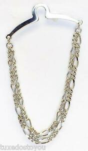 NEW Men's 4mm Tie Chain Tack Clip Silver Double Figaro U.S.A Gift Boxed USA
