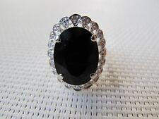 Black Onyx 925 Silver 18KGP Ring Size 7.5 SSR55