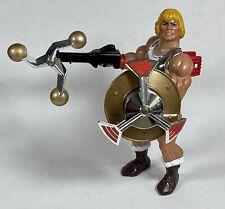 Vintage 1985 MOTU FLYING FISTS HE-MAN Figure Complete w/Mace & Shield Mattel