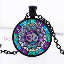 OM Independence Mandala Cabochon Glass Black Chain Pendant Necklace