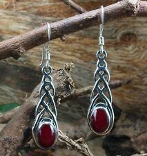 925 Silber, Keltischer Ohrschmuck mit Karneol, rot, Ohrhänger, Ohrringe, Stein