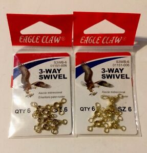 Two Packs Of Six Eagle Claw 3 Way Swivel ( Qty 12 ) 01151-006 New In Package