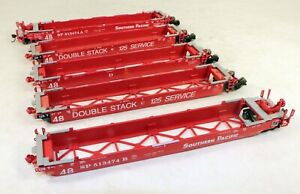 Athearn 48' Five Car Well Set Southern Pacific NO BOX 1/87 HO Scale #2