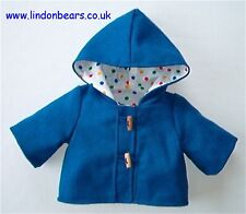 """NEW TEDDY BEAR BLUE DUFFLE COAT-FULLY LINED -FITS 16""""/40cm TALL– MADE IN ENGLAND"""