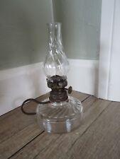 """Antique Miniature Clear Swirl Glass Kerosene Oil Finger Lamp 6"""""""