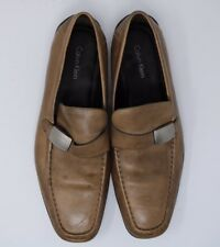 Mens Calvin Klein Heron shoes Sz 10M Brown Leather Slip on Formal Loafer Buckle