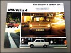 1969 NSU Prinz 4L Original Vintage Car Sales Brochure Catalog - Audi Auto Union