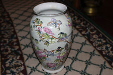 Superb Chinese Or Japanese Bird & Flower Vase-Marked Bottom-Lovely Colors-LQQK