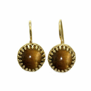 Yellow Gold Plated Natural Tiger Eye Handcrafted Prong Dangle Fish Hook Earrings