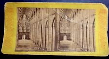 1890'S STEREOVIEW CARD WINCHESTER CATHEDRAL INTERIOR HAMPSHIRE ENGLAND