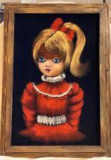 Mid century Velvet Painting Big Blue Eye Girl with Blonde Pony Tail