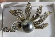 Collectable Christian Dior by Mitchel Maer Crystal Pearl Pin Brooch